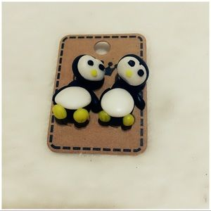 Jewelry - 3D Polymer Clay Penguin Earrings (Yellow)